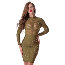 SORCHIDF Bandage Dress Celebrity 2017 Women Bodycon Beads Cloth Female Spring Celebrity Sexy Bandage Black Dresses For Party