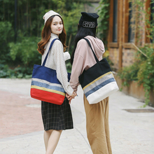 Cotton Stripe Canvas Shopping Tote Shoulder Carrying Bag 2019 New Eco Reusable Bag Zippered Small Shopping Bag все цены