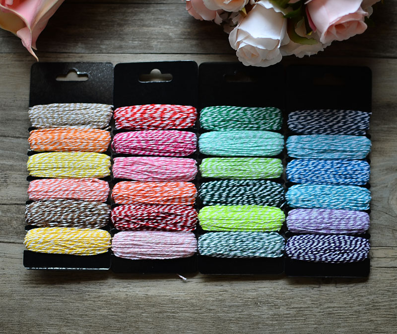 4 Ply Thin Double <font><b>Color</b></font> Cotton Baker Twine Stripe Line for DIY Gift Wrap Scrapbooking Balloon Wedding Party Decoration 45 <font><b>m</b></font>