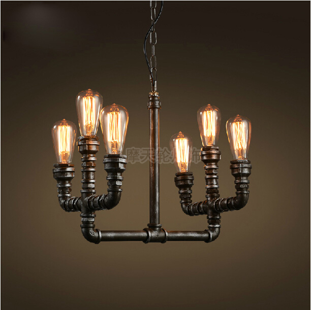 Retro Loft industrial Iron water Pipe steam punk pendant lamp E27 led AC 110V 220V pendant lights for bedroom living room new arrival vintage pendant lamp modern retro industrial pendant lights for restaurant bar living room bedroom 220v e27 holder