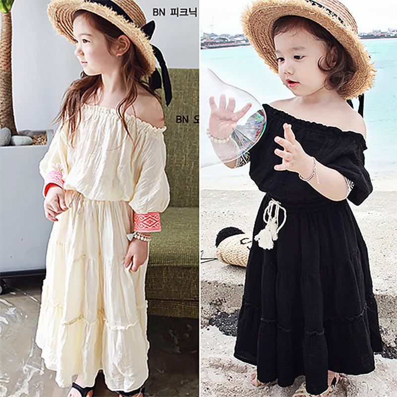 2017 Shoulder Girl Princess Dress Bohemian Girl Clothes Spring Summer Cotton Flax Black Beige Day Holidays Kids Wear 4-17 Y 7 material girl new beige black hieroglyphic printed dress msrp $44 dbfl
