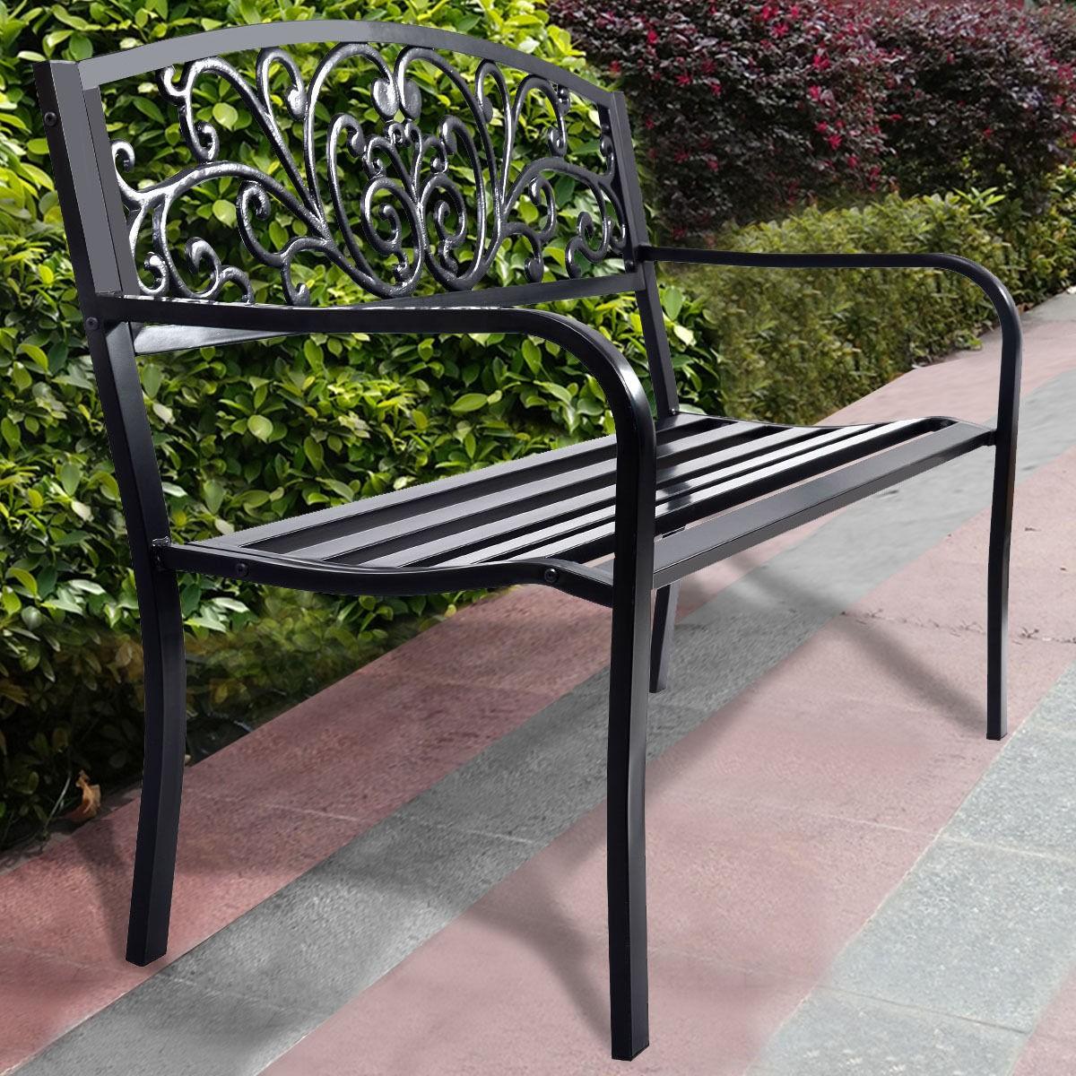 Picture of: 50 Black Patio Park Garden Steel Frame Bench Mesh Style Cast Iron Backrest Outdoor Backyard Furniture Op2786 Aliexpress