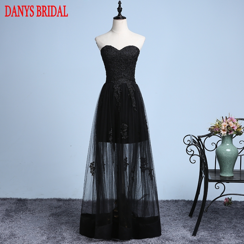 Sexy Black Long Lace Prom Dresses For Teens 8Th Grade Prom -4180