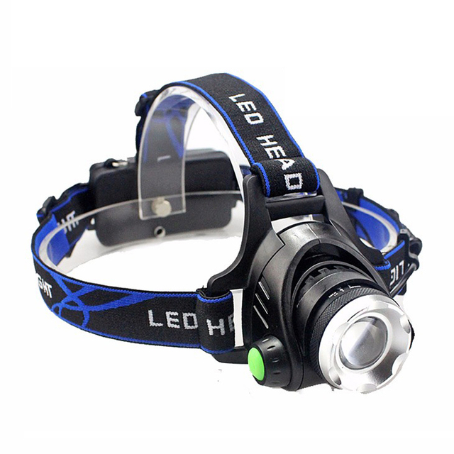 Zoomable LED headlamp with battery car charger and AC charger