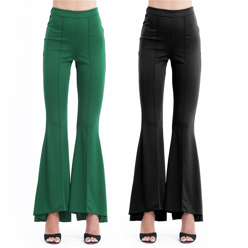YiZYiF Women High Street Bell Bottoms   Pants   Black 2018 Long Flared Vintage Trousers Fashion Office Lady   Wide     Leg     Pants