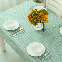 Concise style cyan blue polyester waterproof plaid tablecloths rectangle plain dyed wedding tablecloth/dinning table cover