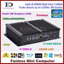 Безвентиляторный мини-Настольный компьютер 8 г Оперативная память + 128 г SSD Intel Core i5 4200U, HDMI Gigabit LAN 2 com RS232, wifi, VGA, Windows 10