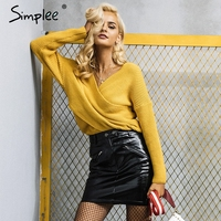 Simplee V Neck Cross Knitting Winter Sweater Women Fashion Down Sleeve Pullover Female New 2017 Autumn