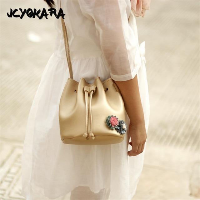 JCYOKARA Baby Girls Bucket Bag Princess Flowers Bucket Children PU Messenger  Bag Toddler Kids Fashion Crossbody Bag