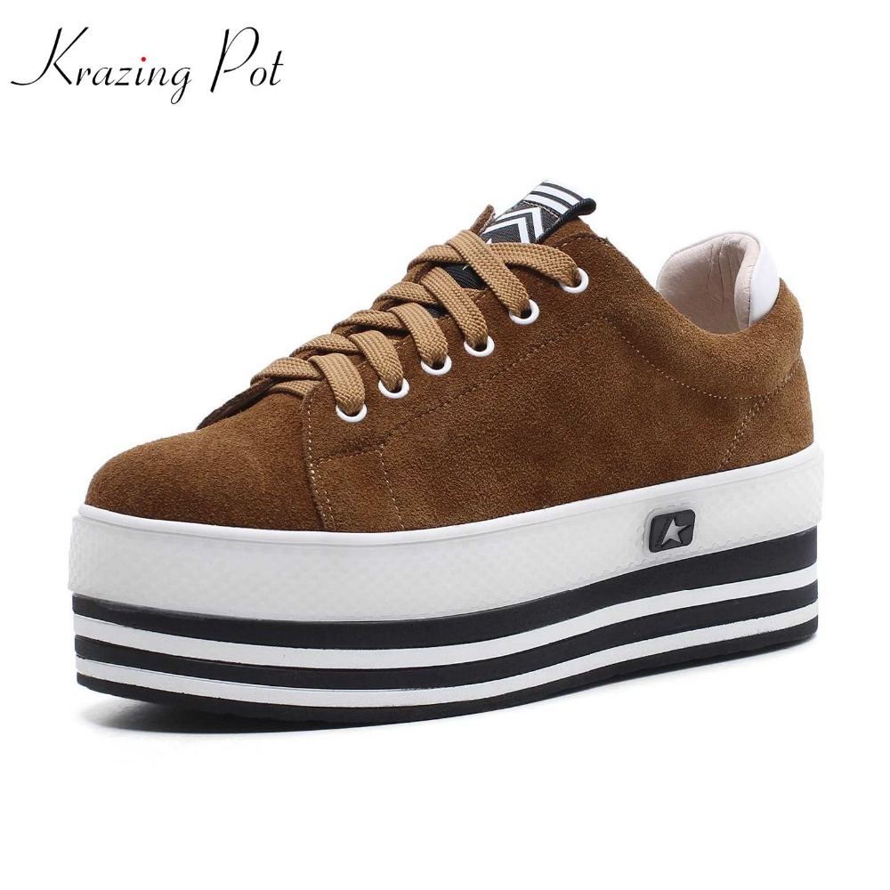Krazing Pot cow suede lace up superstar round toe sneakers thick bottom platform wedges handmade mixed color vulcanized shoe L87 krazing pot recommend autumn cow leather wedges thick bottom high heels straw sole pumps lace up mixed color oxford shoes l92