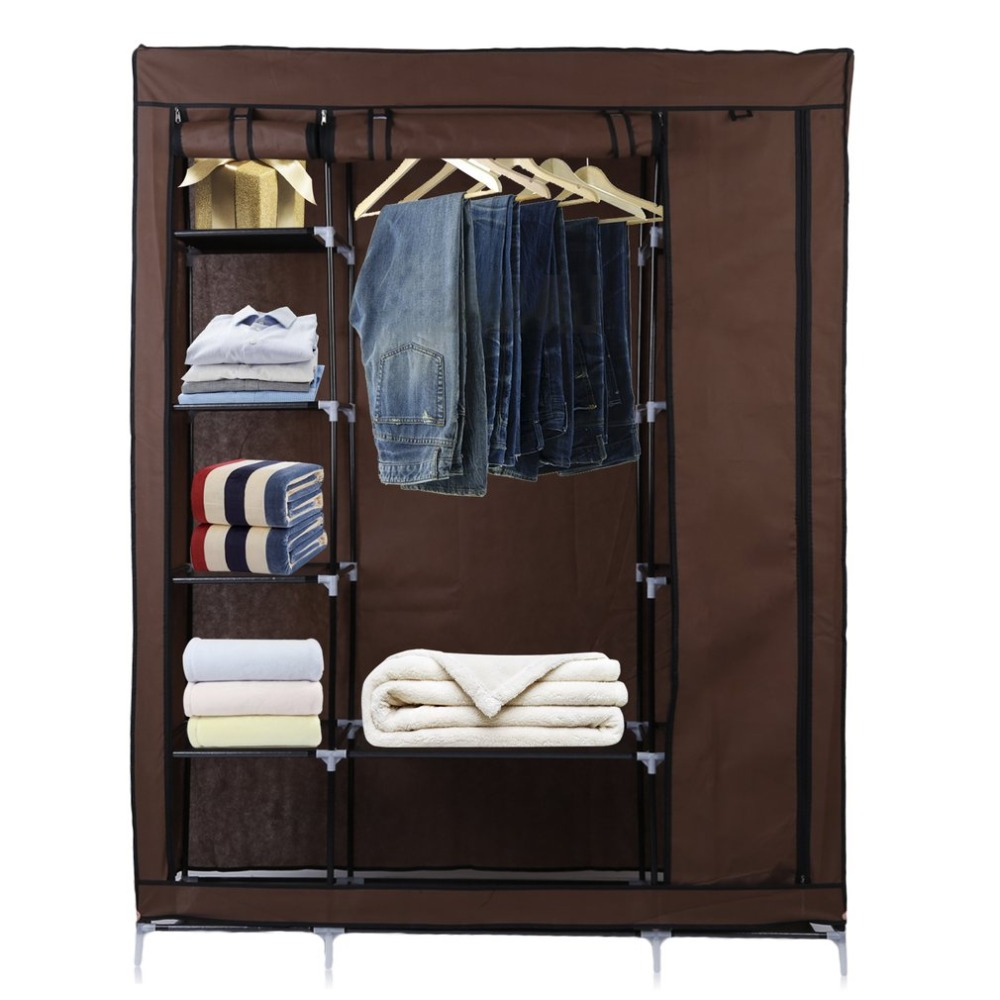 Large DIY Canvas Bedroom Wardrobe Clothes Closet With Hanging Rail Shelving Clothes Storage Organizer Unit Brown 20 cubes interlocking modular storage organizer shelving closet wardrobes rack with doors for home clothes shoes toys storage