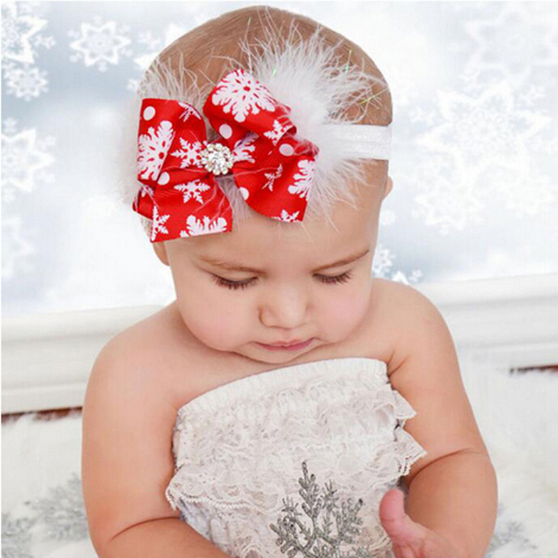 1PC Headwear  Kids Hair Bow Feather Headband Christmas Gift Kids Hair Bands Elastic Rhinestone Hair Accessories metting joura vintage bohemian green mixed color flower satin cross ethnic fabric elastic turban headband hair accessories