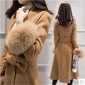 Молодые женщины кашемировые пальто из высококачественной шерсти пальто зимняя мода женская одежда манжеты Южная Корея свободные пальто B059