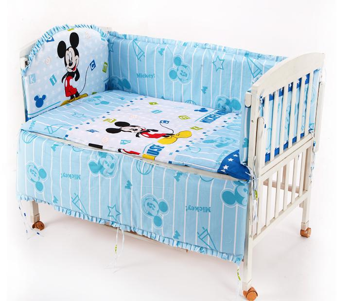 Promotion! 6PCS Mickey Mouse baby bedding set 100% cotton curtain crib bumper baby bed bumper (bumper+sheet+pillow cover)