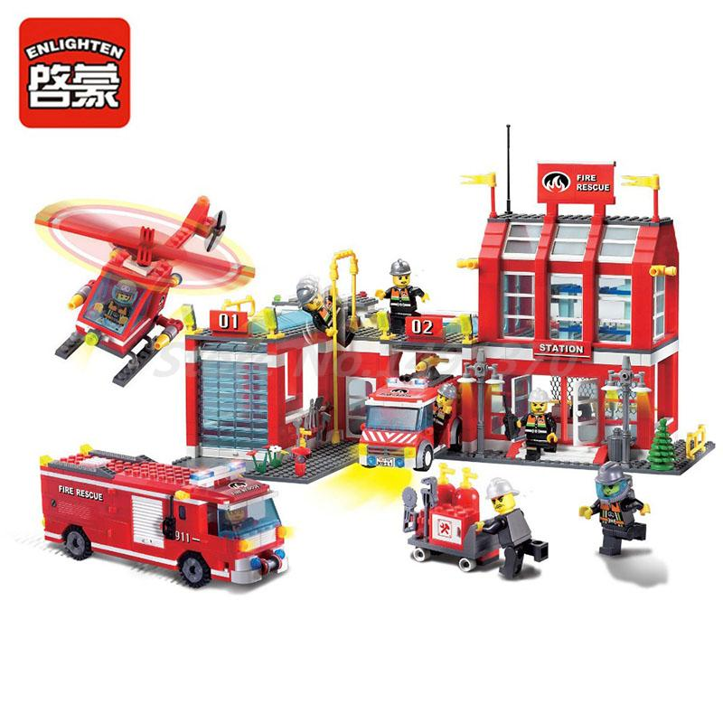 цена City Set Series Fire Station Rescue Control Regional Bureau Enlighten Building Blocks Bricks Toys For Children Education Gifts