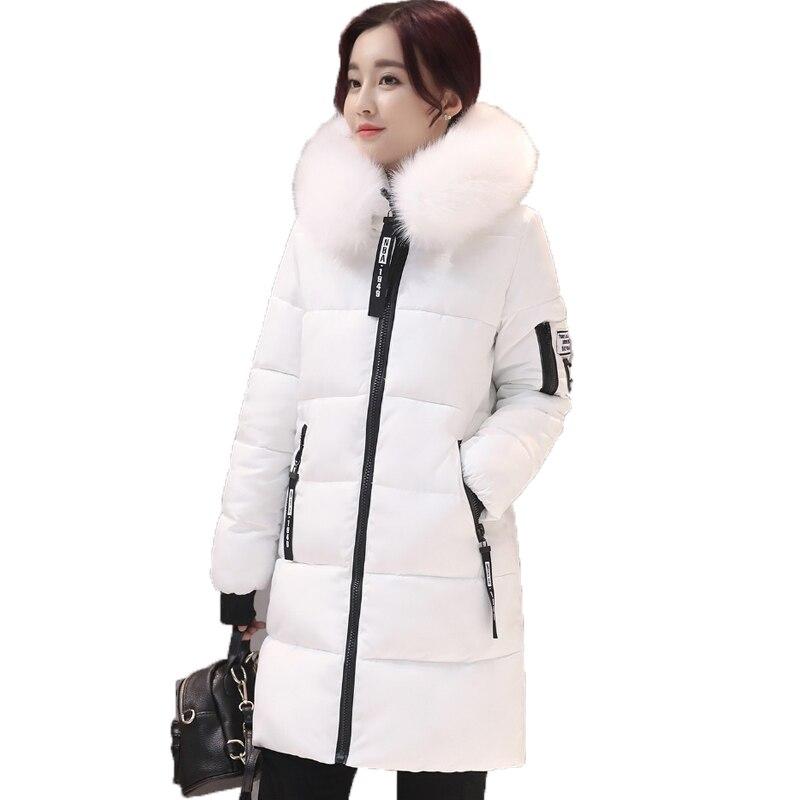 Новинка 2017 года большой меховой воротник зимние пальто для женщин Письмо тонкий толстый теплые хлопковые парки средней длины капюшон Casaco