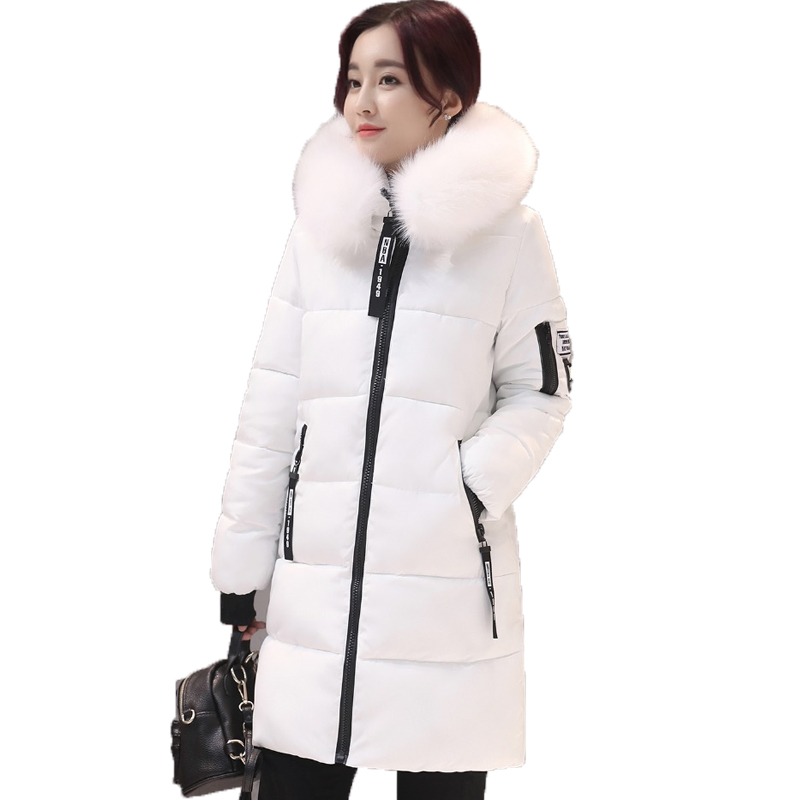 2017 New Large Fur Collar Winter Coats Women Letter Slim Thick Warm Cotton Parkas Medium-long Hood Casaco Feminino Inverno