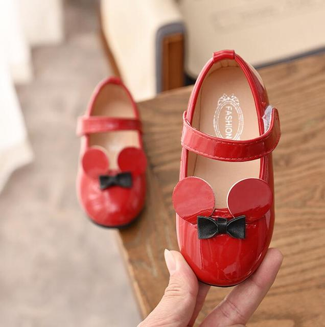 Kids Shoes Children Boys Girls Minnie Pu Leather Shoes Baby Toddler Patent Leather Princess Party Tenis-infantil Shoes