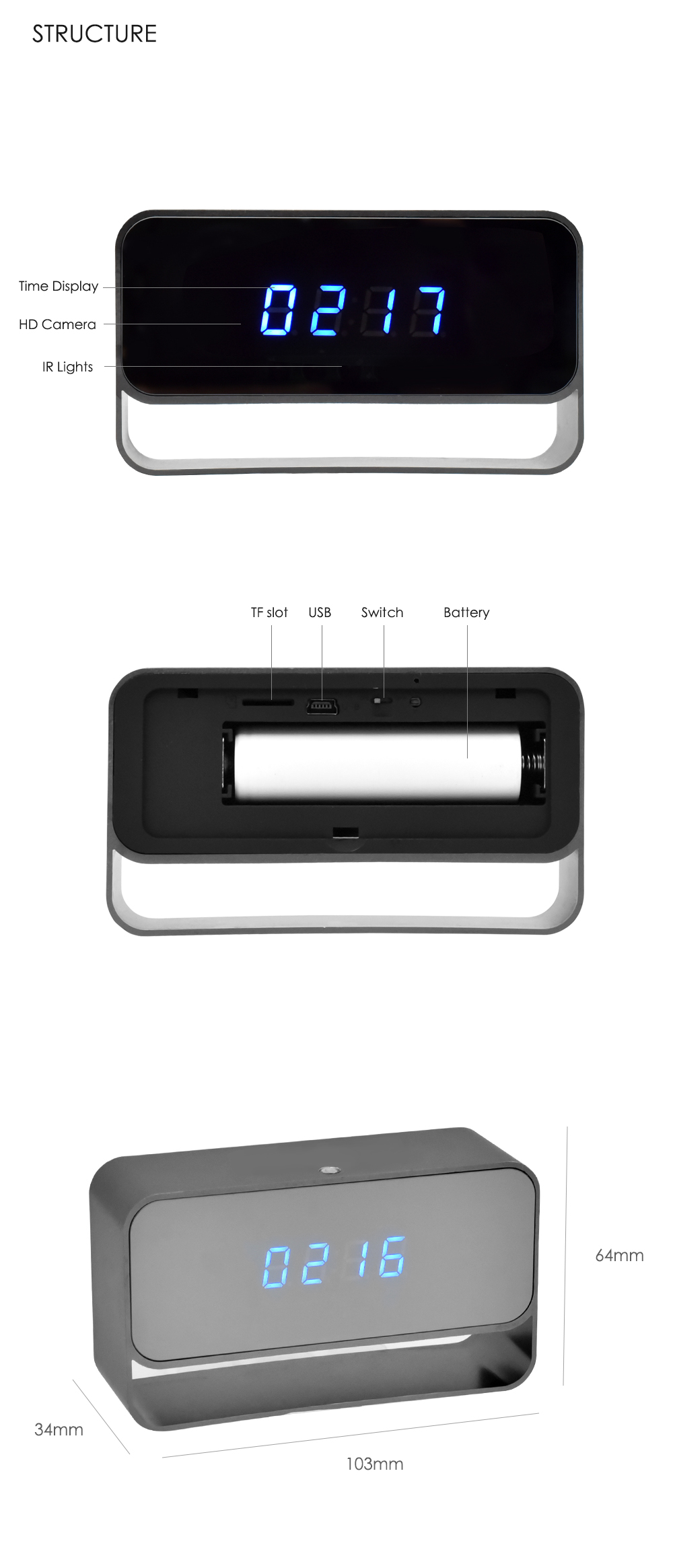 WIFI Mini Camera 1080P Time Alarm CCTV Home Security Clock Wireless Nanny IP Camera P2P IR light Night Vision Motion Detection (5)