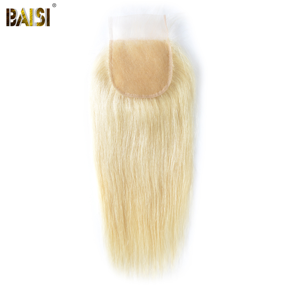 BAISI HAIR Brazilian 613 Blonde Lace Closure Straight 4x4 Remy Human Hair Closure transparent lace Bleached Knots Baby Hair