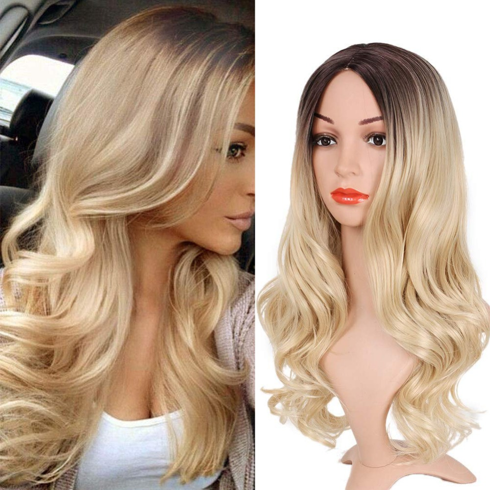 Pageup Middle Part Ombre Blond Wig For Women Heat Resistant Fiber Ladies Daily Cosplay Long Wavy Hair Curly Synthetic Blonde Wig (9)
