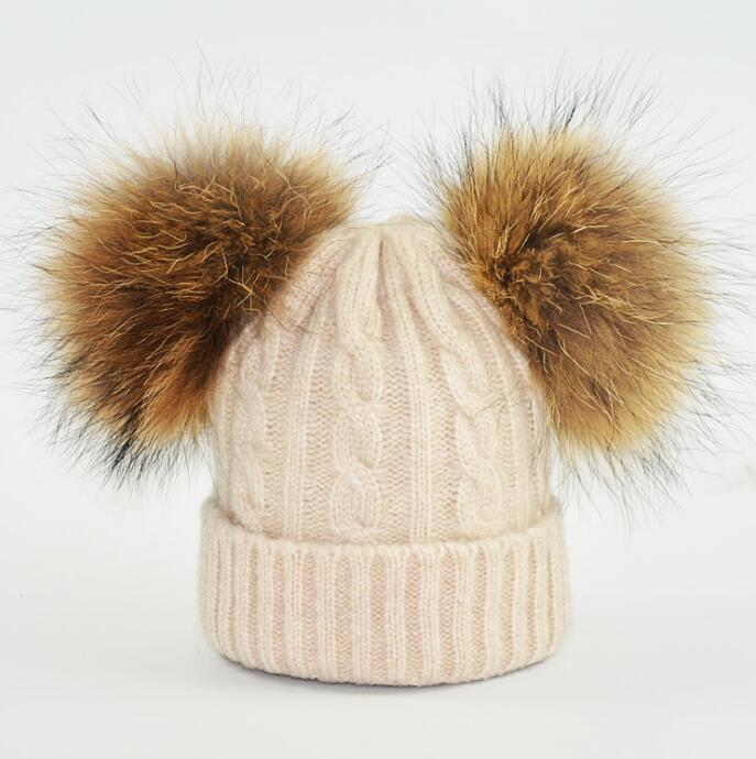 warm winter fun cos baby hat for girls and boys, with real raccoon fur pom pom hat kids size 42-52cm new star spring cotton baby hat for 6 months 2 years with fluffy raccoon fox fur pom poms touca kids caps for boys and girls