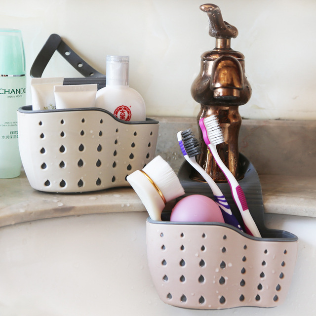 Sink Shelf Soap Sponge Drain Rack Silicone Storage Basket Bag Faucet Holder Adjustable Bathroom Holder Sink Kitchen Accessorie 3