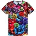 2016 Новые поступления футболка для мужчин мода 3d роуз печатные марка одежды футболка homme hot хип-хоп стиле мма футболка camisetas
