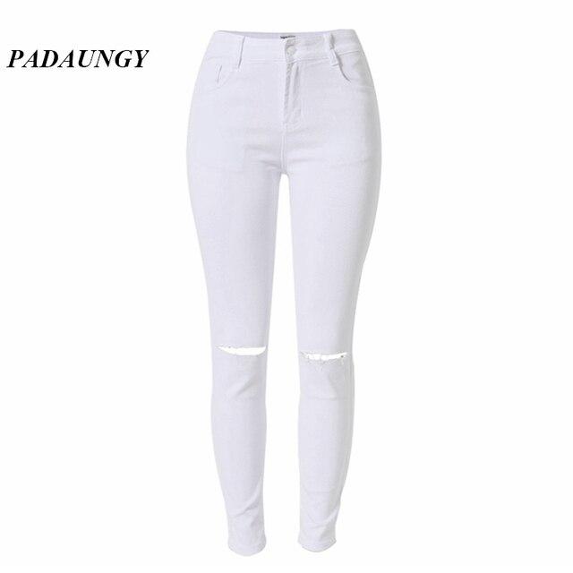 e7a0ae43b63 PADAUNGY White Pants Jeans Women Hole Jeggings Plus Size Denim Pants  Pantalones Mujer Slim Skinny High