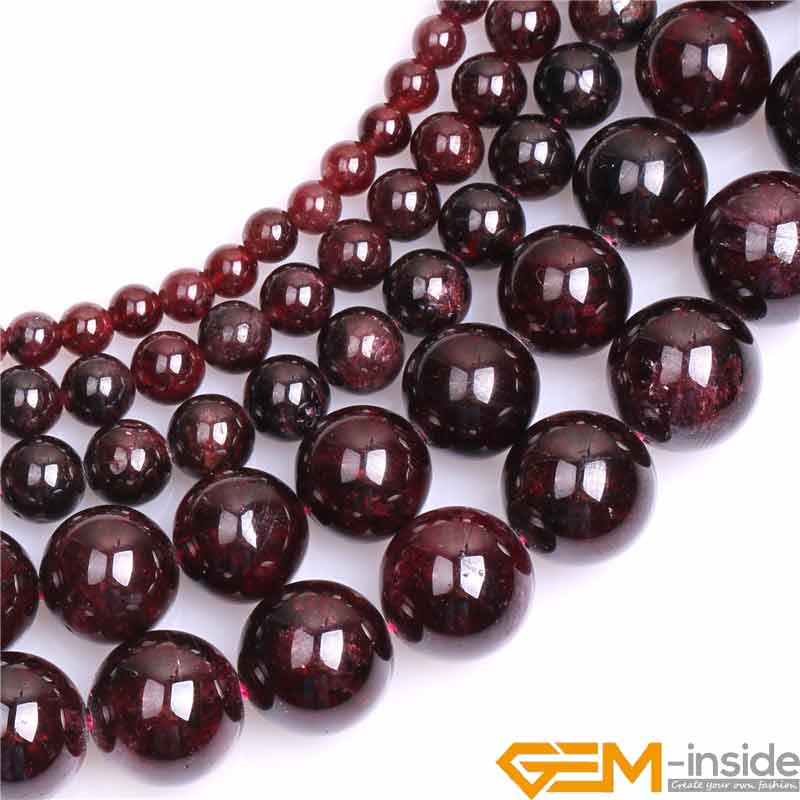 "Gem-inside Natural Gems Stones Dark Red Garnet Round Beads For Women Bracelet & Necklace Jewelry Making Strand 15 "" Wholesale"