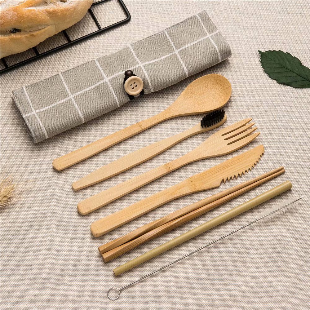 Cutlery-Set Dinnerware-Sets Spoon Chopsticks Wood-Knives Kitchen-Tool Bamboo Cooking