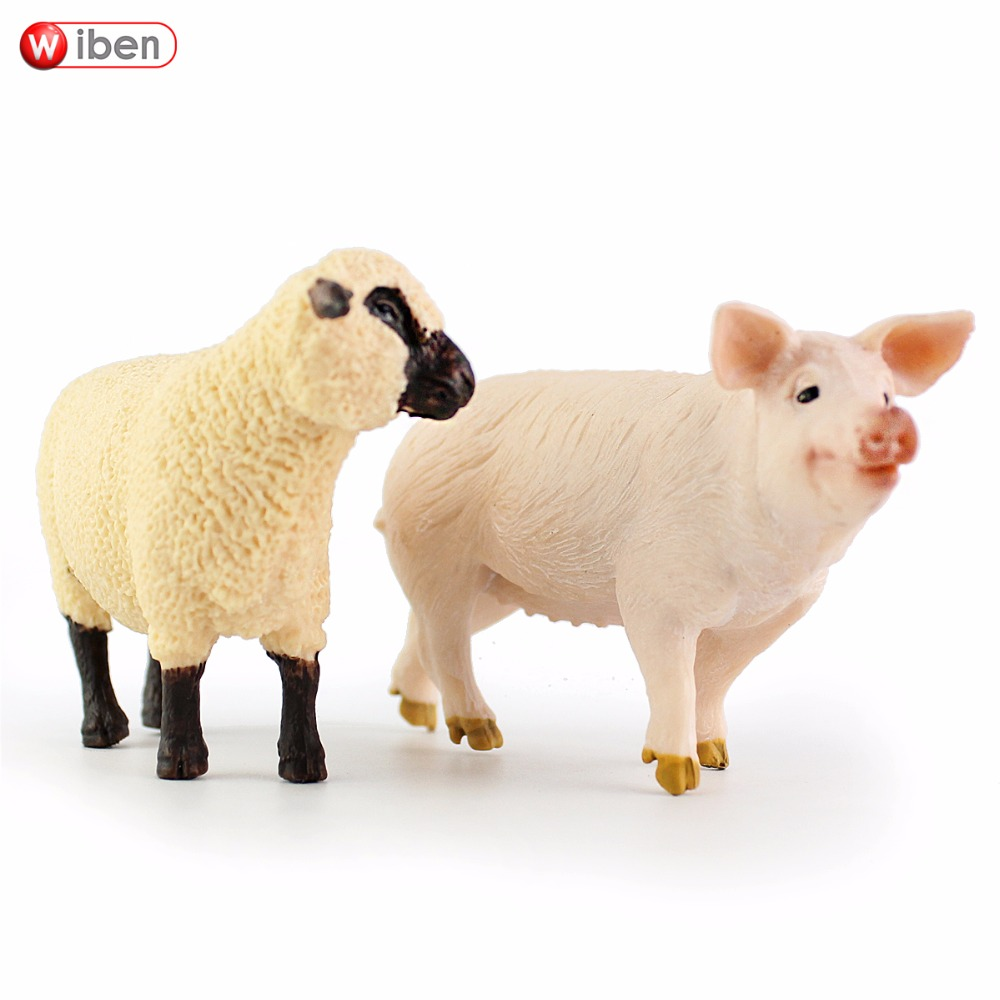 Wiben Pig Sheep Plastic Simulation Farm Animals Model Action & Toy Figures Toys for Children Giftt Collection wiben animal hand puppet action