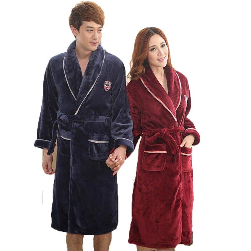 Flannel Couple Bathrobe Lovers Sleepwear Thick Warm Nightgown Kimono Bridal  Wedding Bridesmaid Robes Dressing Gown For Women Men 5297573fb