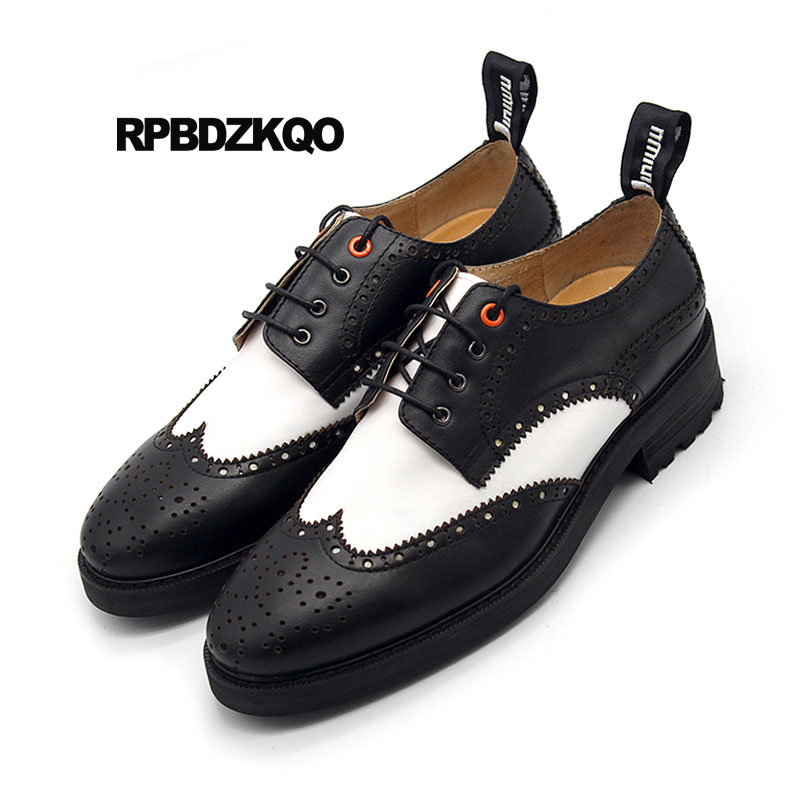 Brogue Pointu Wingtip forme Véritable Et En Plate Black À Bout New Oxfords White Noir Blanc Main Chaussures Marque Creepers La Printemps Occasionnels Hommes Cuir 0r0q5