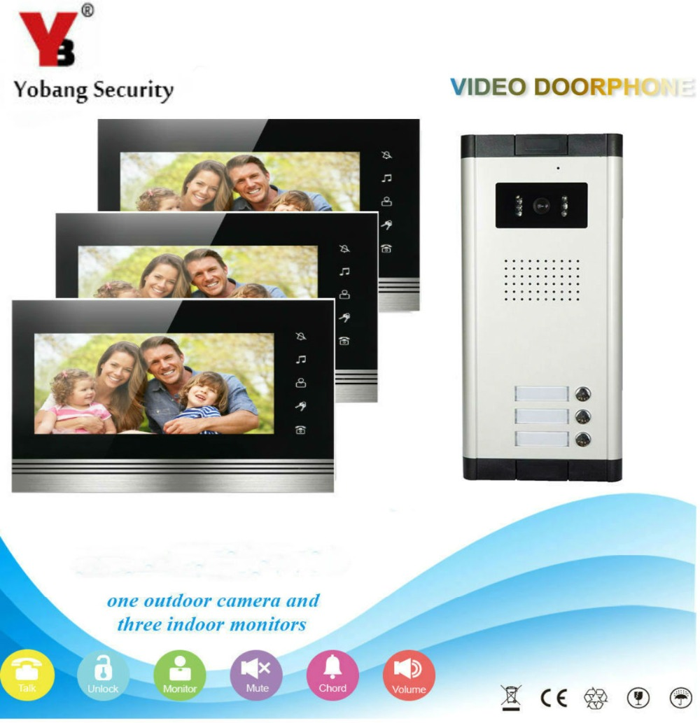 YobangSecurity 3 Apartment Wire Video Door Phone Intercom System 7Inch Monitor IR Camera Video Intercom Door Phone Doorbell Kit yobangsecurity villa apartment eye door bell 7tft lcd color video door phone doorbell intercom system 1 camera 3 monitor