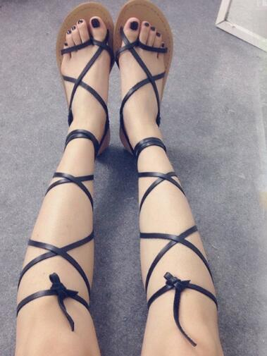 b34dd922db48 Newest Rome Style Lace-up Sandal Woman Summer Flat Thong Sandal Sexy  Cutouts Beachwear Shoes Pu Leather Gladiator Sandal Boots