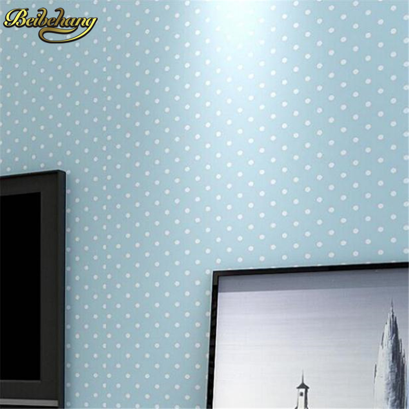 beibehang home decor Modern wall paper roll small Polka dots non woven wallpaper rolls House bedroom home decor for kids' room beibehang non woven wallpaper rolls pink love stripes printed wall paper design for little girls room minimalist home decoration