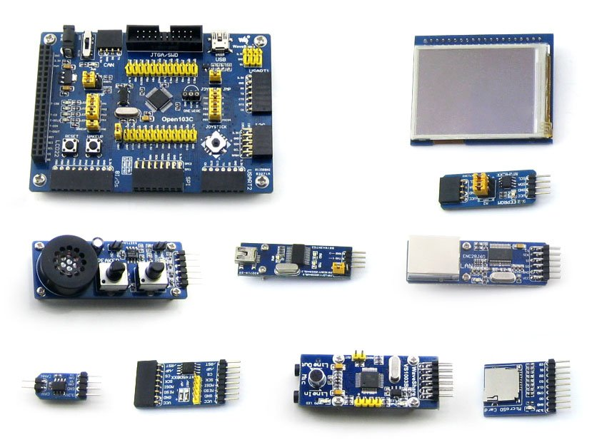 module STM32 Development Board for STM32F103C Series MCU STM32F103CBT6 ARM Cortex-M3+2.2inch Touch LCD+8 Modules Kits=Open103C P nxp lpc11c14 cortex m0 evaluation development board w 2 8 touch panel module blue