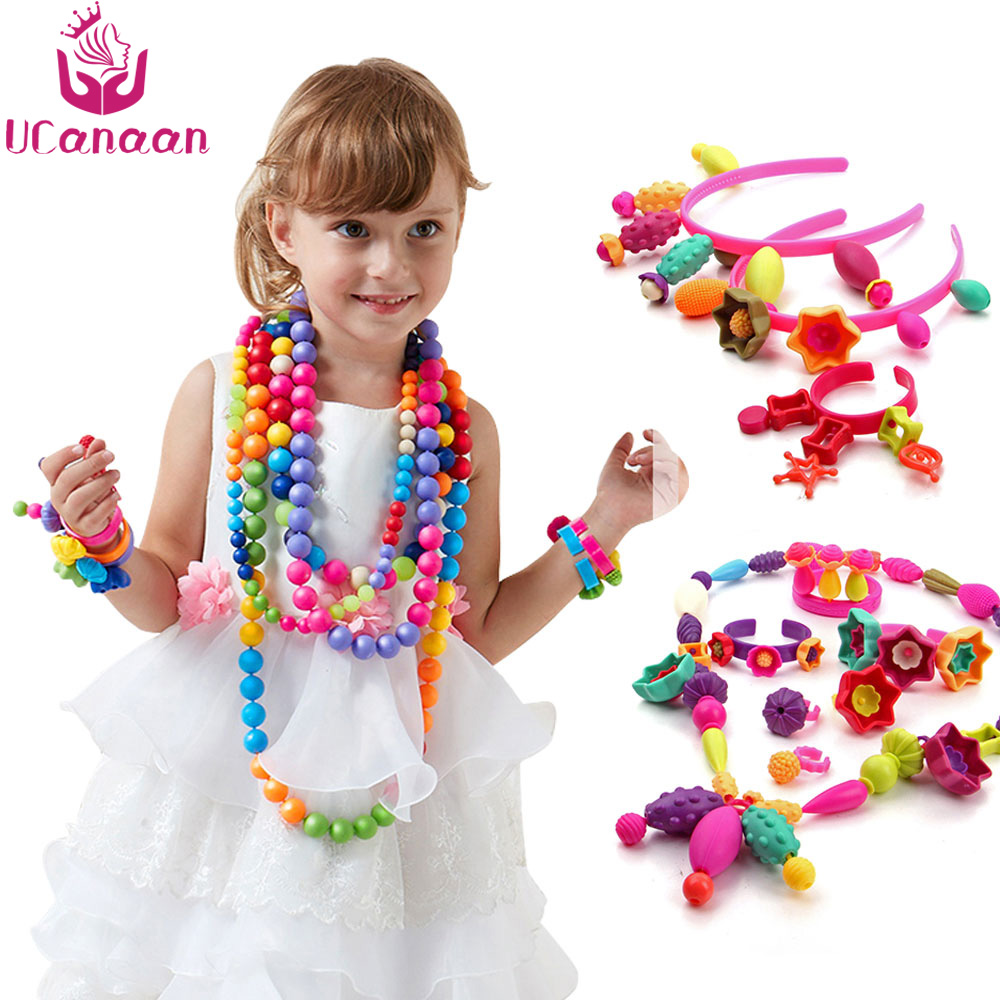 UCanaan 500g Pop Beads DIY Kids Toys Candy Sugar Jewelry Puzzle Toy Pop Beaded Assembled Blocks Educational Toys For Children
