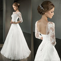 New Stock Vestido De Noiva US Size 4~18 White/Ivory Tulle Applique Three Quarter Sleeve Lace Wedding Dress Robe De Mariage