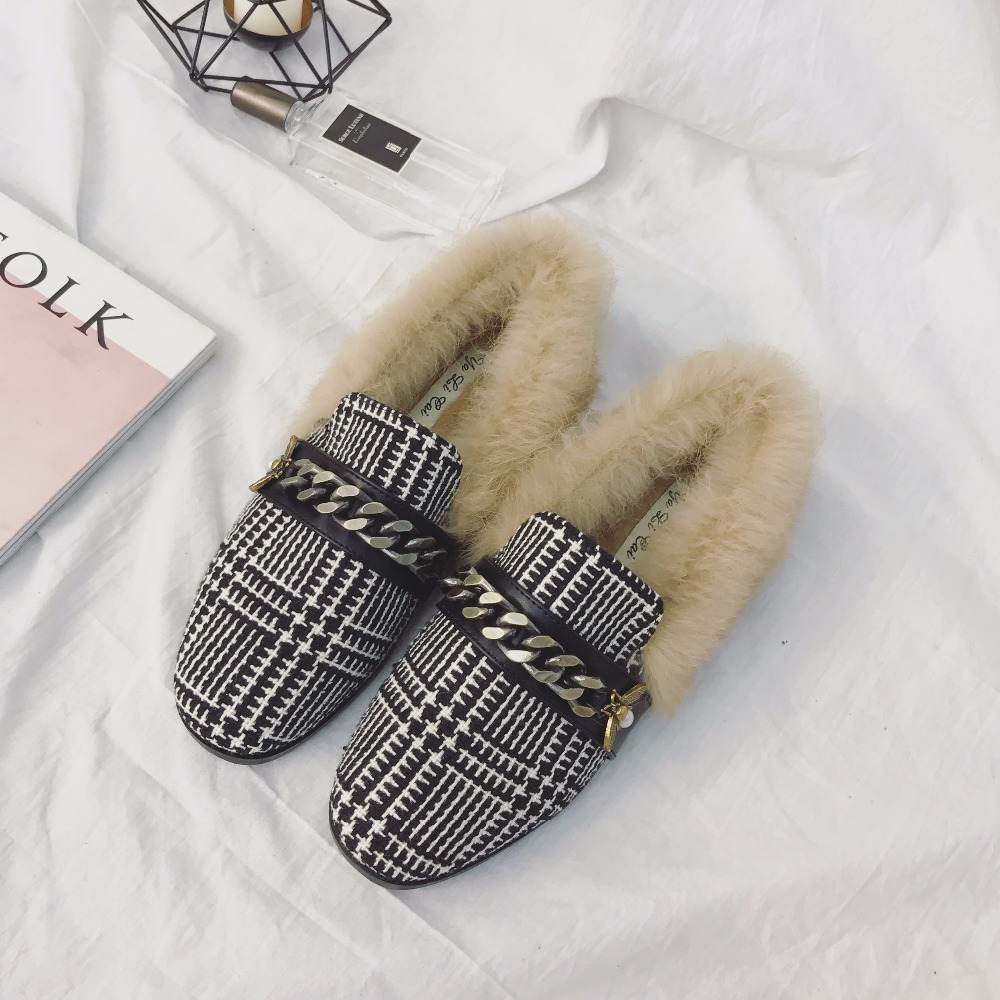 Winter Metal Chain Fur Shoes Women Designer Furry Rabbit Loafers Slipony Moccasins Chains Bee Slip On Natural Real Fur Flats new 2016 european brand designer winter warm flats black leather rabbit fur loafers metal decorated hot sell flat shoes women