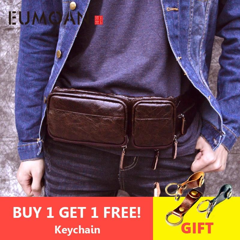 EUMOAN New Men Brand Casual Waist Pack Male Bag Genuine Leather Shoulder Luxury Fanny Packs Men Belt Bag Pouch For Money Phone