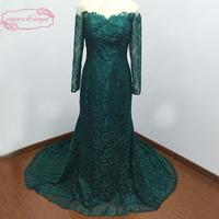 Actual Long Dress Formal Floor Length Sheer Crew Neckline Lace Long Sleeve Mermaid Green Lace Evening Dresses Real Picture