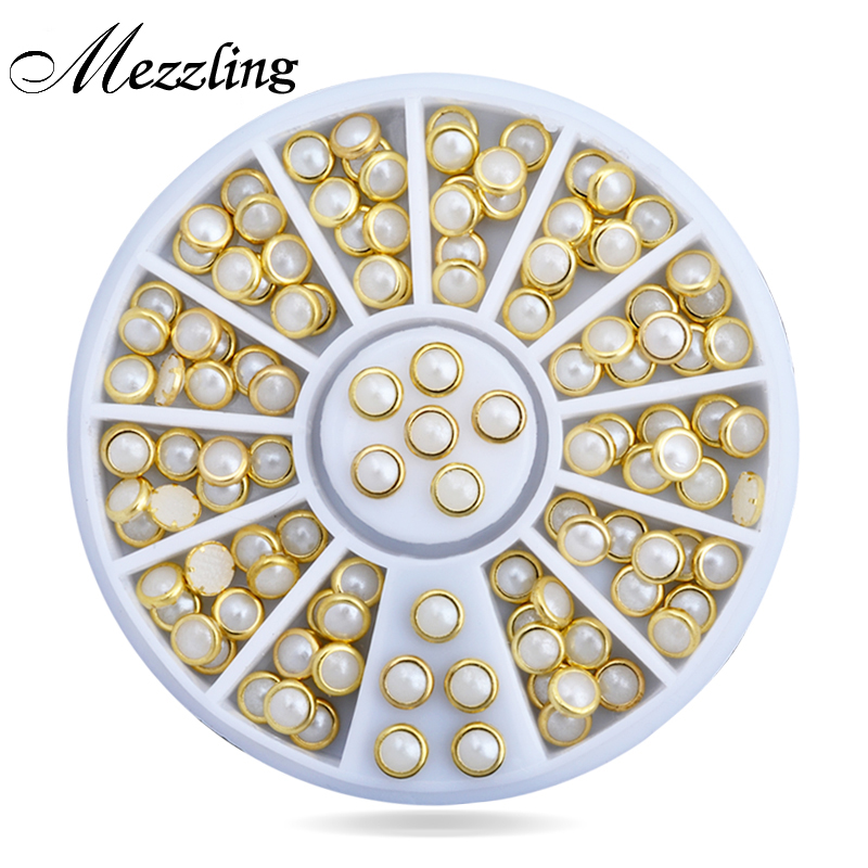 2016 Hot Beige Color Metal Edge Glitter Pearls Nail Beads Sts