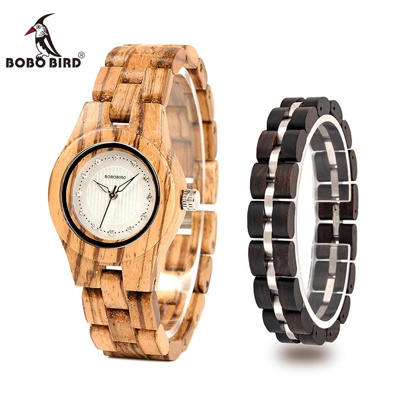 relogio feminino BOBO BIRD Bamboo Wooden Fashion Watch With Bracelet Top Brand Wristwatch Women Timepiece In