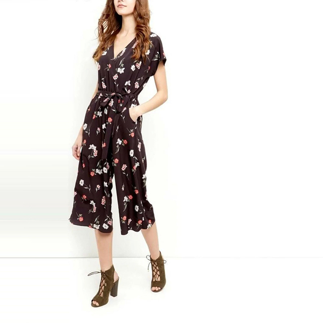 Women summer vintage floral printed playsuits lady casual V-neck jumpsuits rompers with belt LBEDC011-0506