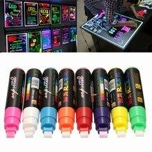 8 Stuks 10 Mm Re Led Markeerstift Neons Schrijfbord Marker Fluorescerende Vloeistof Krijt Pen Voor Tekenen Schilderen Schrijven Art ondersteuning