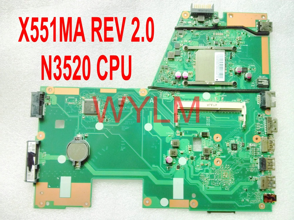 все цены на free shipping original X551MA motherboard MAIN BOARD REV 2.0 N3520 CPU 100% Tested онлайн