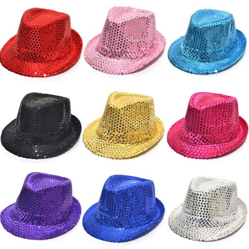 Colorful Adult Women Men Sequins Jazz Hats Trilby dancing hat Cap Performance Carnival birthday funny hat