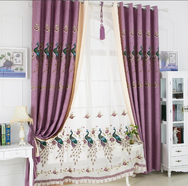 2016 New Curtains For Living room Peacocks embroidered curtain cloth shading linen cloth